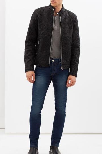 Cracked effect jacket, Black, hi-res