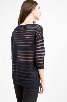 Pullover with semi-sheer inserts, Navy Blue, hi-res