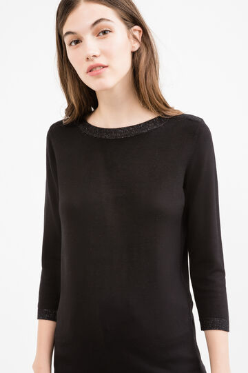 Pullover with three-quarter sleeves and lurex inserts, Black, hi-res