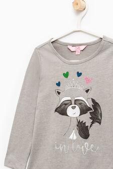 Cotton T-shirt with maxi print, Grey Marl, hi-res