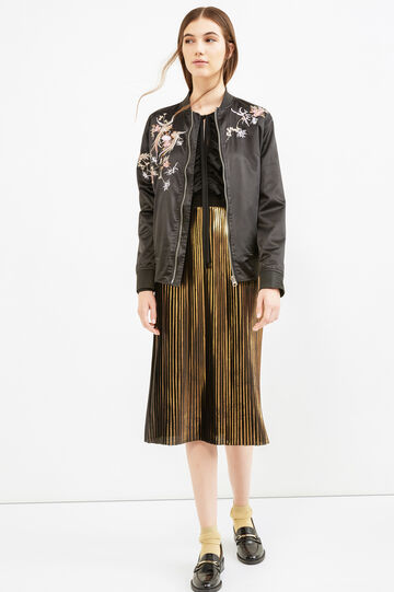 Bomber jacket with multi-coloured embroidery, Black, hi-res
