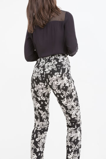 Printed trousers in 100% viscose, Multicolour, hi-res