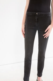 Stretch jeans with high waist, Black, hi-res