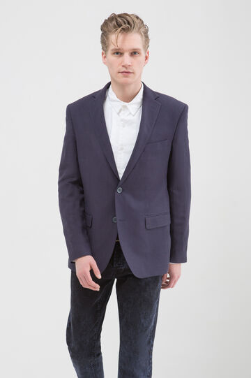 Regular fit jacket in linen and viscose