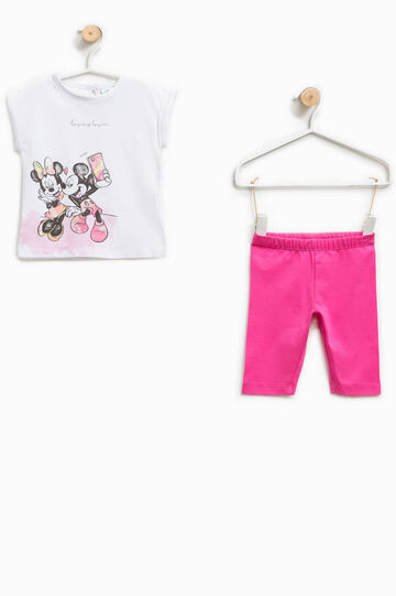 Conjunto con estampado de Mickey Mouse y Minnie, Blanco/Rosa, hi-res