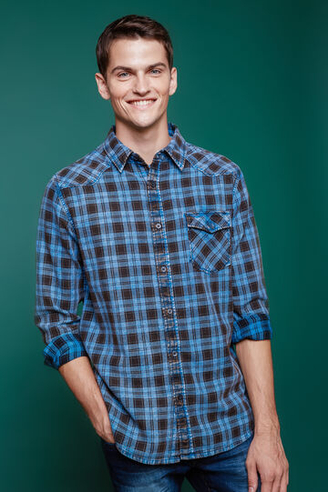 Camicia casual puro cotone a quadri, Blu, hi-res