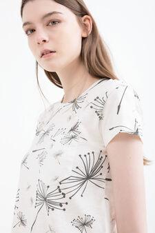 Floral print cotton T-shirt, White, hi-res