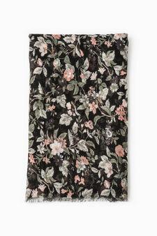 Sciarpa stampa floreale, Nero/Rosa, hi-res
