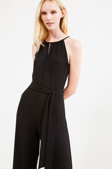 Sleeveless jumpsuit with tie, Black, hi-res