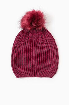 Beanie cap with fur pompom, Blue, hi-res
