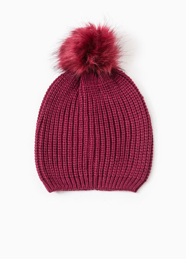 Beanie cap with fur pompom | OVS