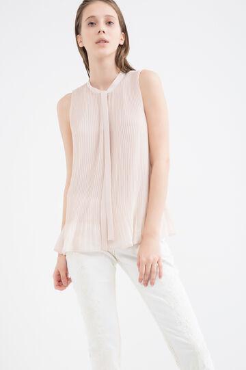 Blusa plissettata con laccio, Rosa, hi-res