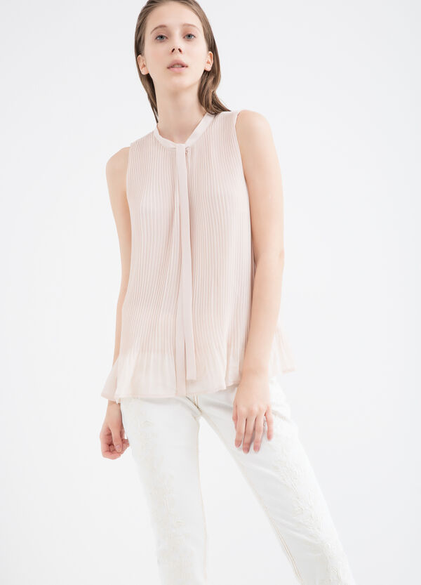 Pleated blouse with tie | OVS