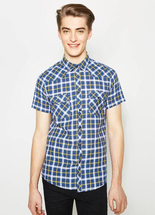 G&H casual tartan shirt in slub cotton | OVS