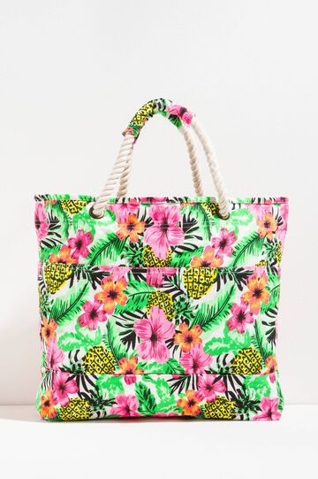 Floral beach bag with rope handles