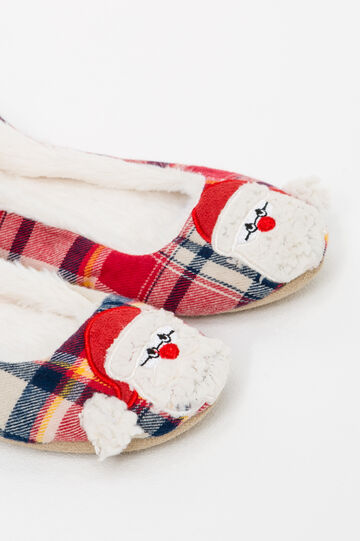Ballerina slippers with Father Christmas patch, Red, hi-res