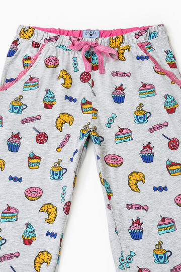 Set due pantaloni pigiama stampati, Bianco, hi-res