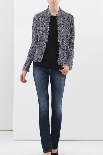 Plain blouse with studs., Black, hi-res