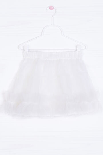 Solid colour skirt with tulle, White, hi-res