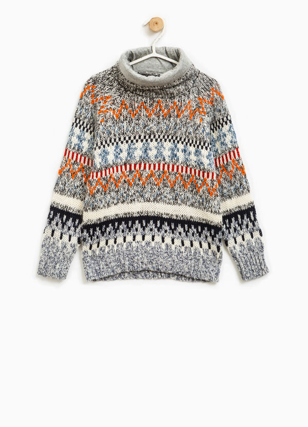 Knitted pullover with high neck and pattern   OVS