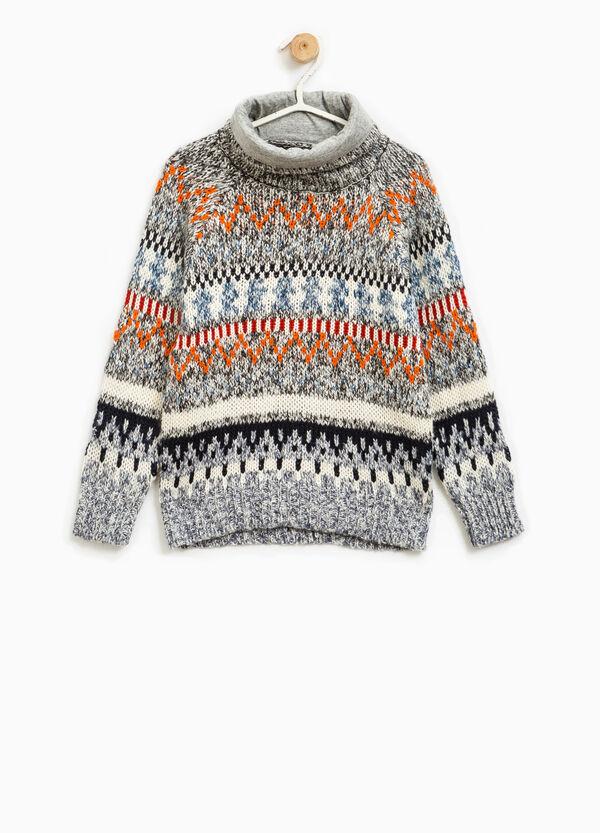 Pullover tricot collo alto fantasia | OVS
