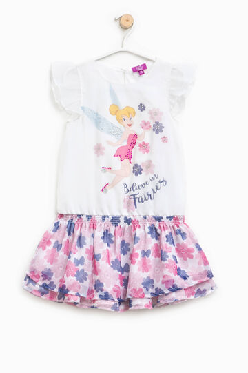 Dress with Tinkerbell print and flounced skirt, Optical White, hi-res