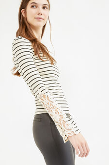 Ribbed and striped T-shirt with lace, Ecru Brown, hi-res