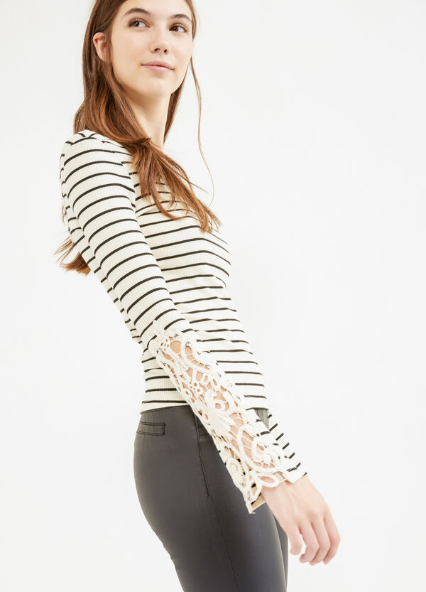 Ribbed and striped T-shirt with lace | OVS