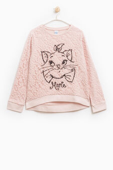 100% cotton sweatshirt with The Aristocats embroidery, Pink, hi-res