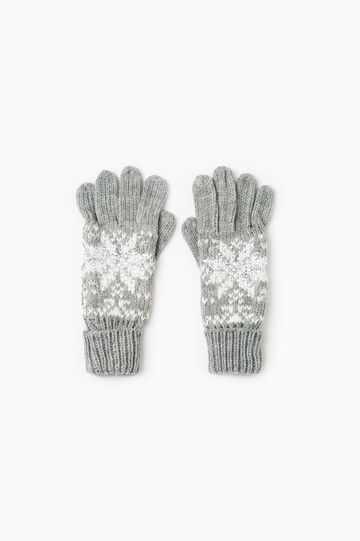 Knitted gloves with embroidery and diamantés, Grey Marl, hi-res