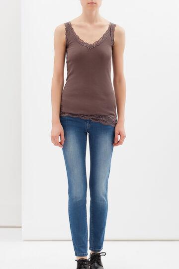 100% cotton top with lace trim, Beige Brown, hi-res