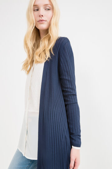 Open ribbed cardigan, Navy Blue, hi-res