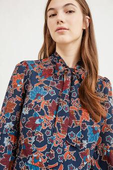 Longuette dress with floral print, Blue, hi-res