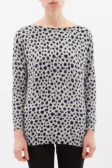 Animal patterned pullover, Grey, hi-res