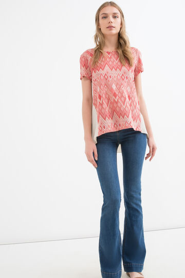 Stretch T-shirt with geometric pattern, Light Red, hi-res