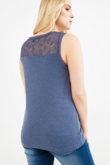 Curvy 100% cotton top with lace, Blue Marl, hi-res