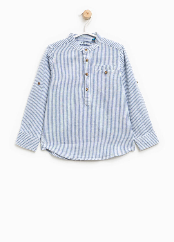 Striped linen and cotton shirt | OVS
