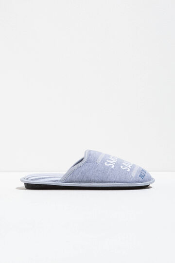 Striped slippers with printed lettering, White/Grey, hi-res