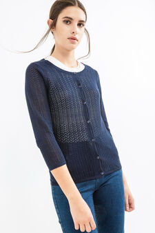 Solid colour knitted cotton cardigan, Navy Blue, hi-res