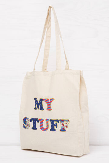 Cotton shopping bag with lettering print, Navy Blue, hi-res
