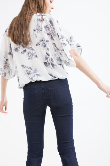 Short-sleeved printed blouse, White/Grey, hi-res