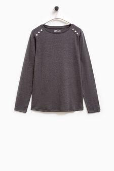 Smart Basic cotton T-shirt with diamantés, Grey, hi-res