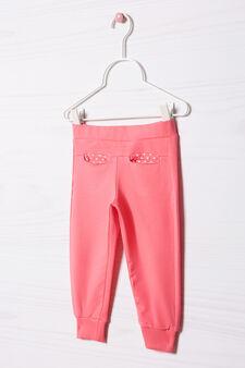 Pantaloni tuta cotone stretch, Rosa corallo, hi-res