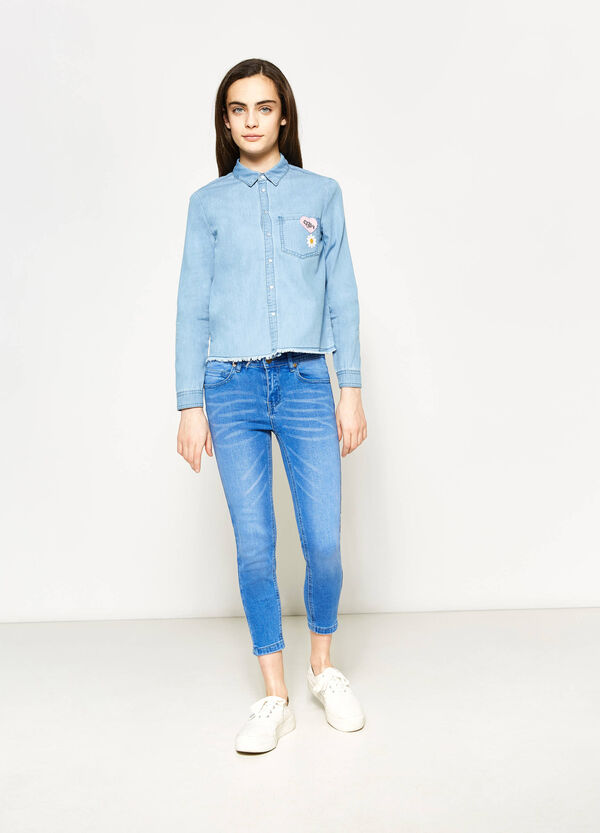 Teen denim crop shirt | OVS