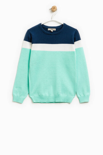 Pullover with top section in contrasting colour, Light Blue, hi-res