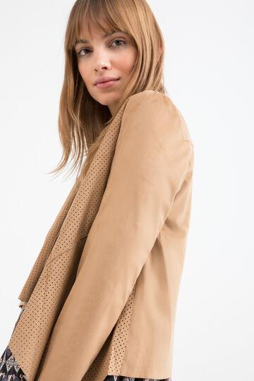 Openwork imitation leather jacket