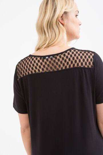 Curvy solid colour cotton T-shirt, Black, hi-res