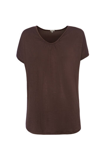 T-shirt con laccio retro Smart Basic, Marrone, hi-res