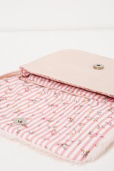 Shoulder bag with faux fur flap, Pink, hi-res