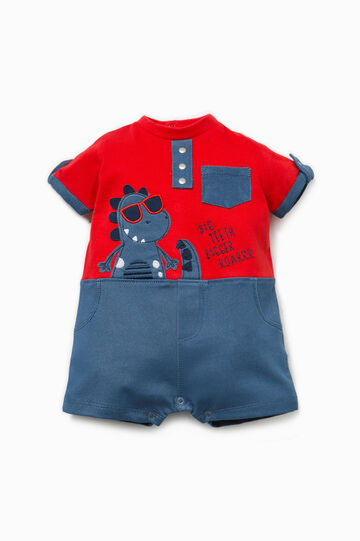 Stretch romper suit with patch and embroidery, Blue/Red, hi-res